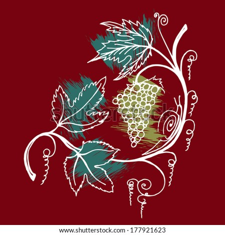 Bunch of grapes. Perfect for wine label or bar menu - stock vector