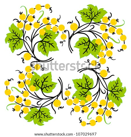 Bunch of yellow currant. Ripe berry. Vector - stock vector
