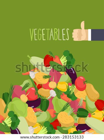 Bunch vegetables. Turnips and squash. Hand with the thumb up a favorable gesture. Proper nutrition of vegetables - stock vector