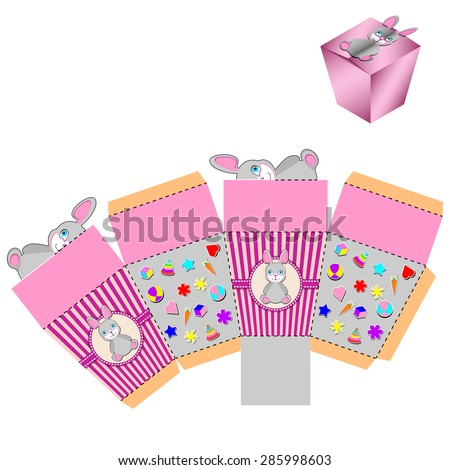 Bunny Box Design, die-stamping, folding Template - stock vector