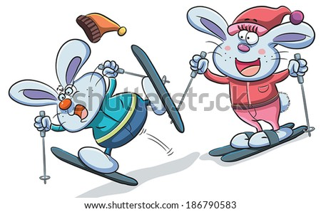 Bunny Skiing - stock vector