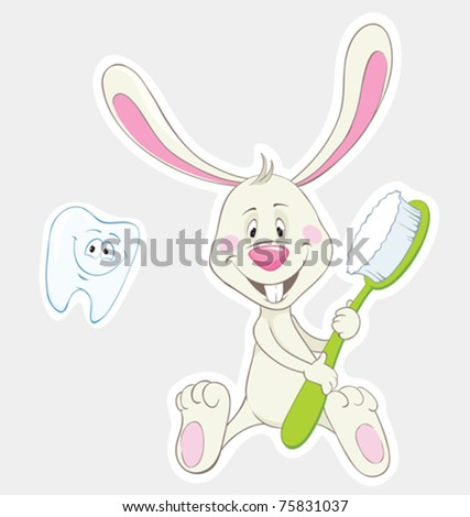 Bunny with toothbrush and happy tooth. Vector stickers - stock vector