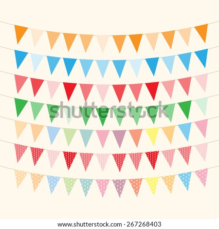 Bunting and garlands for Birthday Card - stock vector