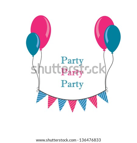 buntings with baloons and space for your text - stock vector