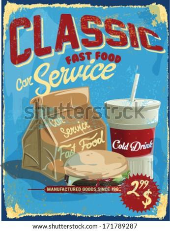 burger announcement over grunge background. vector illustration.Car parking,fast food car service shop. - stock vector