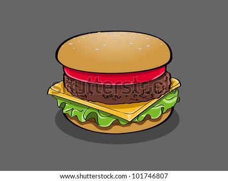 burger cartoon - stock vector