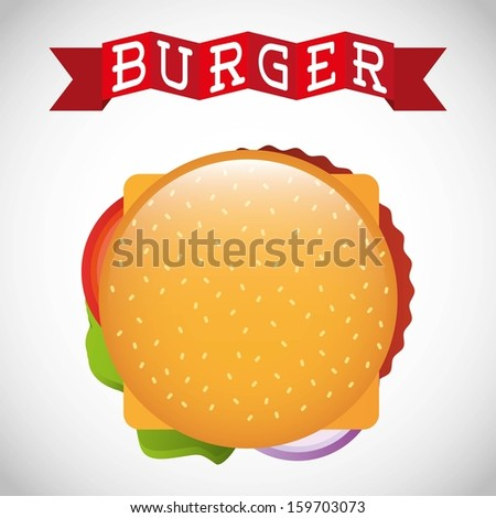 burger design over gray background vector illustration - stock vector