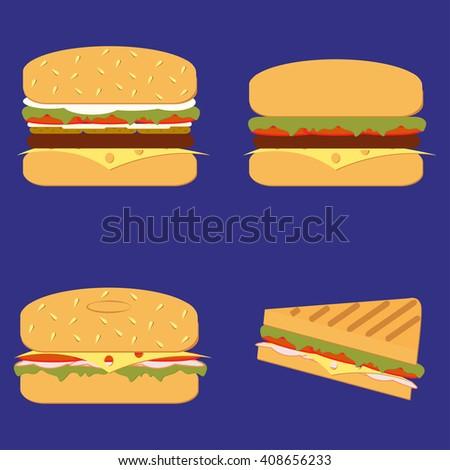 Burger grill sandwich vector set - stock vector