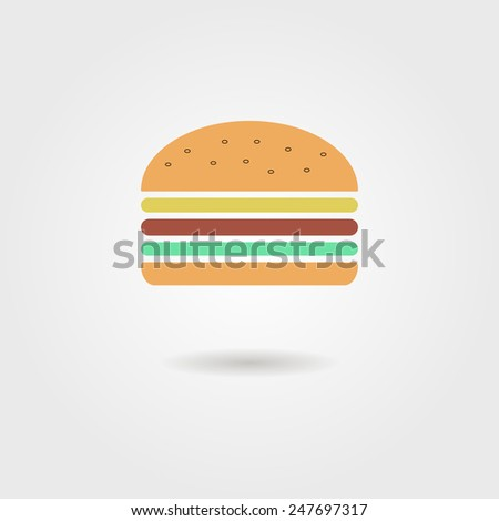 burger icon with shadow. isolated on stylish background. modern vector illustration - stock vector