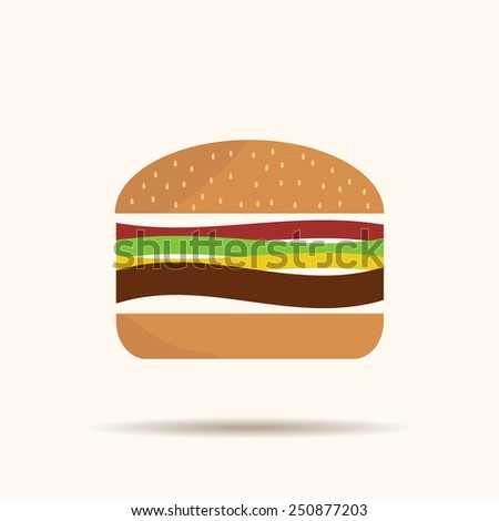 Burger icon with shadow isolated on yellow background classic original sign - stock vector