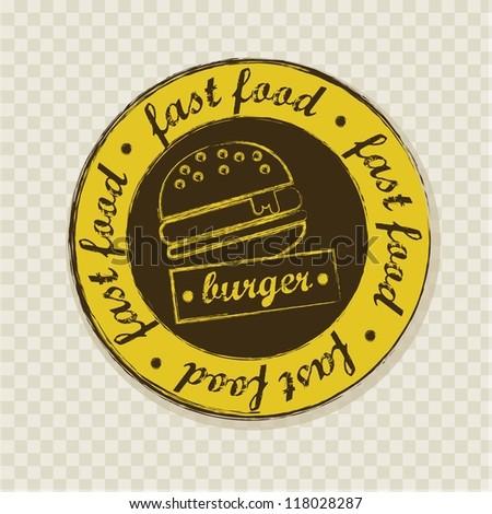 burger label over squares background. vector illustration - stock vector