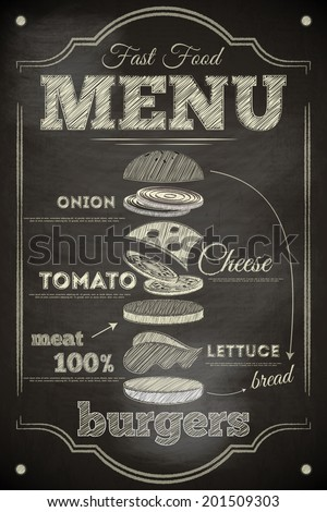 Burger Menu Poster on Chalkboard. Hamburger Ingredients. Vector Illustration. - stock vector