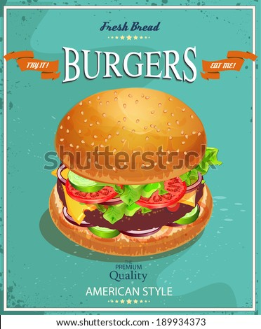 Burger. Poster in American traditional vintage style - stock vector