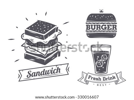 Burger, sandwich and hotdog icons, labels, signs, symbols and design elements. Vector collection of fast food badges. - stock vector