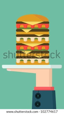 Burger served on a plate - stock vector