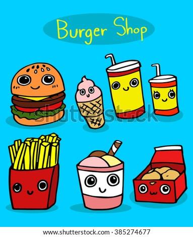 Burger Shop cartoon vector. - stock vector
