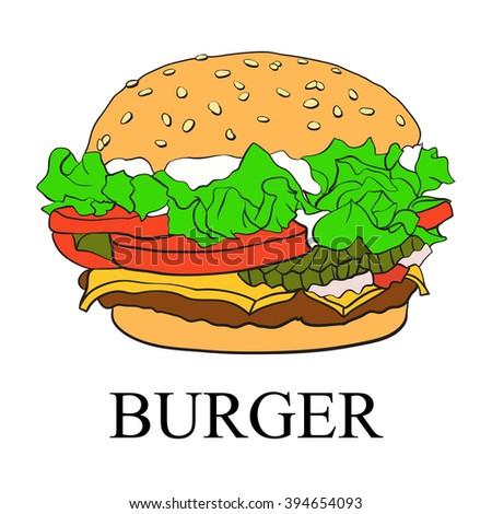 Burger. Vector. - stock vector