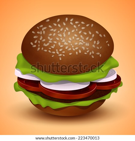 Burger with cutlet, tomatoes, onions and salad, a vector illustration - stock vector