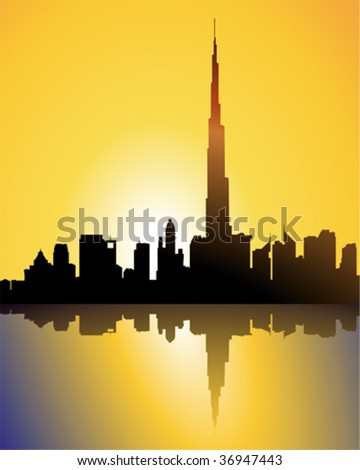 burj dubai at sunset - stock vector
