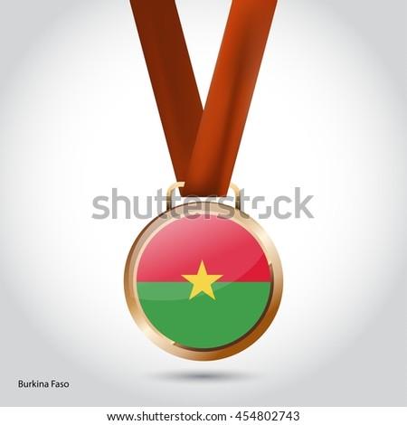 Burkina Faso Flag in Bronze Medal. Olympic Game Bronze Medal. Vector Illustration - stock vector