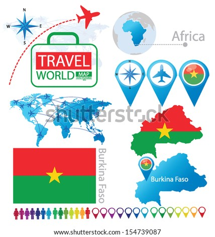 Burkina Faso. flag. World Map. Travel vector Illustration. - stock vector
