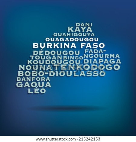 Burkina Faso map made with name of cities - vector illustration - stock vector