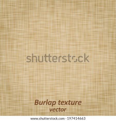 Burlap sack fabric canvas linen flax scrim cloth  textile material texture background, vector illustration - stock vector