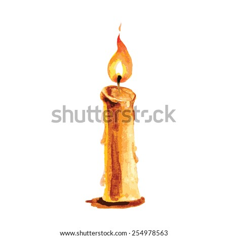 Burning candle in a watercolor style, vector illustration - stock vector