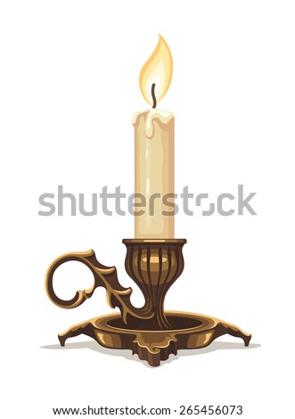 Burning candle in bronze candlestick. Eps10 vector illustration. Isolated on white background - stock vector