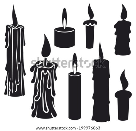 burning candles (candles set, collection of candles, candles icons, candle and flame, candle with fire) - stock vector