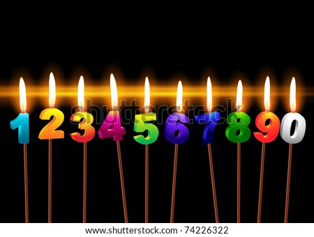 "Burning candles with numbers ""1, 2, 3, 4, 5, 6, 7, 8, 9, 0"" - stock vector"