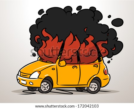 burning car - stock vector