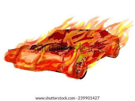burning car. - stock vector