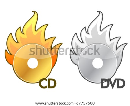 Burning CD / DVD icon over a white background - stock vector