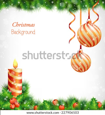 Burning Christmas candle with holly sprigs, pine branches and two spiral Christmas balls with ribbons hanging on pine in snowfall on grayscale background - stock vector