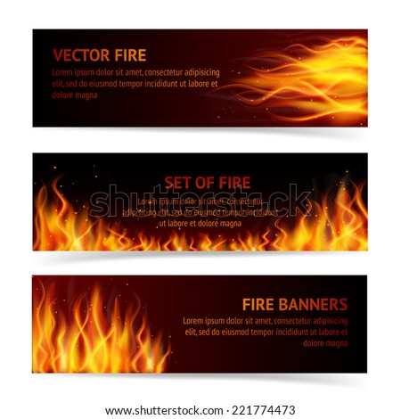 Burning fire campfire hot flame strokes realistic horizontal banner set isolated vector illustration - stock vector