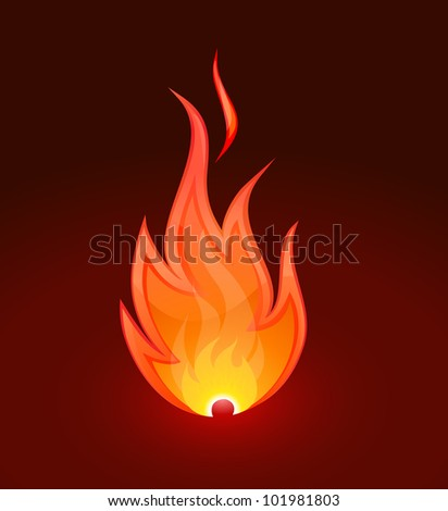 Burning flame fire on dark background - stock vector
