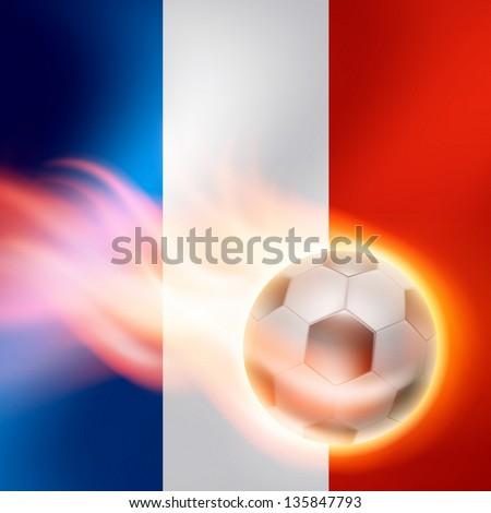 Burning football on France flag background. EPS10 vector. - stock vector