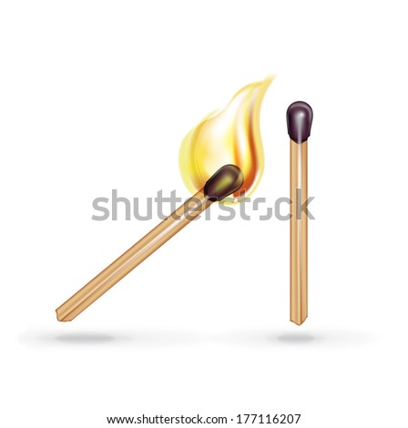 burning match and single match isolated on white background - stock vector