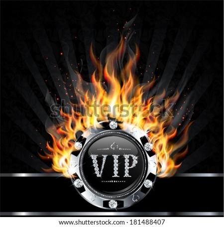 burning silver vip - stock vector