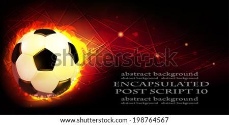 Burning soccer ball on a black background - stock vector