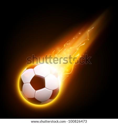burning vector football/soccer ball illustration - stock vector