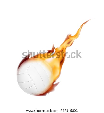 Burning volleyball ball on a white background. Vector illustration - stock vector