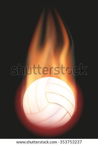 Burning Volleyball ball with a tail of flame. Vector illustration Isolated on background.  - stock vector