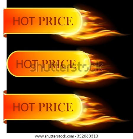 Burning with fire design sale stickers and tags. Mesh. This file contains transparency. - stock vector