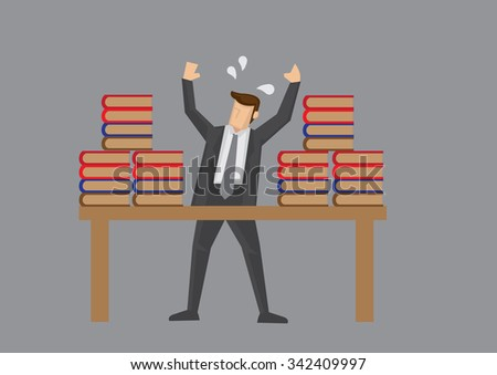 Burnout businessman with stacks of work throws up hands in desperation. Vector illustration on overworked concept isolated  on grey background. - stock vector