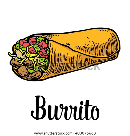 Burrito - mexican traditional food. Vector color vintage engraved illustration for menu, poster, web. Isolated on white background. - stock vector