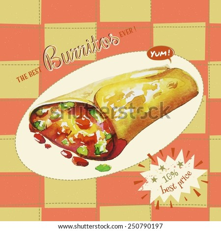 Burrito. Vector Illustration and seamless pattern. - stock vector