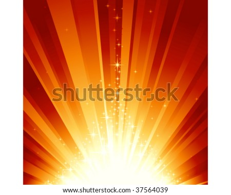 Burst of light and stars forming a stylized Christmas tree. 7 global colors, background controlled by 1 linear gradient. Artwork grouped and layered. - stock vector