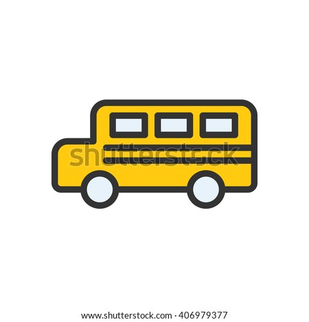 Bus fully scalable vector icon in outline style. - stock vector